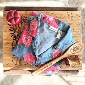 Vintage Fashion Bug Chambray Rose Button-Down